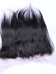 Недорогие -18inch braizlian прямые кружева закрытия лобной лучшие девственные бразильские укупорочные человеческих волос свободный / средний закрытие