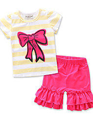 cheap -Girls' Daily Formal Going out Striped Clothing Set, Cotton Summer Short Sleeves Stripes Bow Yellow