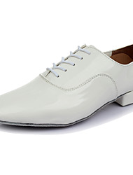 Men's Latin Leather Heel Performance Low Heel White Black Customizable