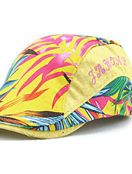 cheap -Unisex Women Men's Cotton Beret Hat Peaked Cap Vintage Casual Print Sports Summer All Seasons Black/Blue/Light Blue/Yellow