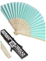 cheap -Bachelorette Tiffany Blue Silk Hand Fan in Giftbox Ladies Night Out Essentials Beter Gifts®Recipient Gifts