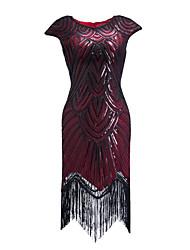 abordables -Fourreau / Colonne Bijoux Asymétrique Polyester Soirée Cocktail / Retour Robe avec Paillette par LAN TING Express