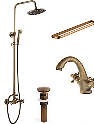 cheap -Antique Art Deco/Retro Traditional Shower System Rain Shower Handshower Included Ceramic Valve Two Holes Three Handles Two Holes Antique