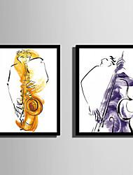 preiswerte -Abstrakt Menschen Gerahmtes Leinenbild Gerahmtes Set Wandkunst,PVC Stoff Schwarz Kein Passpartout Mit Feld For Haus Dekoration Rand Kunst