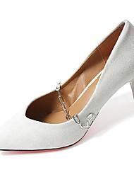 Feminino Saltos Conforto Couro Ecológico Verão Casual Caminhada Conforto Corrente Salto Agulha Branco Preto Marron 5 a 7 cm