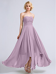 cheap -A-Line Strapless Ankle Length Chiffon Bridesmaid Dress with Ruched by LAN TING BRIDE® / Open Back
