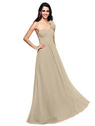 cheap -Product Sample A-Line One Shoulder Floor Length Chiffon Lace Bridesmaid Dress with Appliques Draping by LAN TING BRIDE®