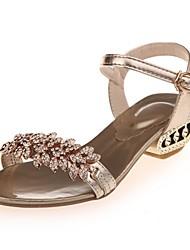 Femme Chaussures Polyuréthane Eté Confort Sandales Gros Talon Strass Pour Décontracté Habillé Soirée & Evénement Chocolat Or Argent