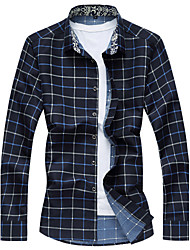 Men's Casual/Daily Beach Simple Active Summer Shirt,Floral Shirt Collar Long Sleeve Cotton Rayon Thin