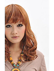 cheap -Capless Top Quality Long Brown Synthetic Fiber Wig With Neat Bangs Party Wig Hairstyle