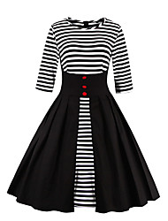 Women's Party Going out Vintage Swing Dress,Striped Round Neck Knee-length Cotton Polyester All Seasons Mid Rise Micro-elastic Medium