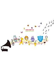 economico -Animali Cartoni animati Musica Adesivi murali Adesivi aereo da parete Adesivi decorativi da parete,Vinile MaterialeDecorazioni per la