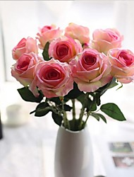 cheap -10 Heads Silk Roses Tabletop Flower Artificial Flowers