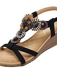 cheap -Women's Shoes PU(Polyurethane) Spring / Summer Comfort / Light Soles Sandals Walking Shoes Wedge Heel Round Toe Beading / Buckle Black /