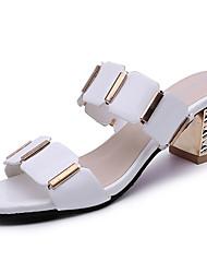 Damer Sandaler Komfort PU Sommer Afslappet Formelt Komfort Ternet Tyk hæl Hvid Sort 5-7 cm