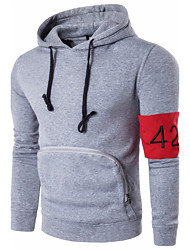 cheap -Men's Daily Solid Colored Block Hooded Hoodie Regular