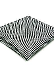 JH20  Men's Pocket Square Handkerchiefs Handmade Black White Houndstooth 100% Silk Classic Unique  Jacquard Woven New
