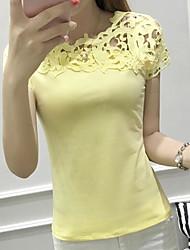 abordables -Mujer Sensual Diario Camiseta, Escote Redondo Un Color Manga Corta Algodón