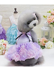 Dog Dress Dog Clothes Cute Casual/Daily Fashion Princess Gray Purple Blushing Pink