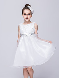 cheap -Girl's Cotton Summer Flower Printing Rhinestone Belt Lace Princess Dress