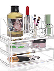 cheap -Acrylic Transparent Complex Combined Large Capacity Treble 3 Layer Makeup Brush Pot Cosmetics Storage Stand Drawer Cosmetic Organizer Box 2PCS Set