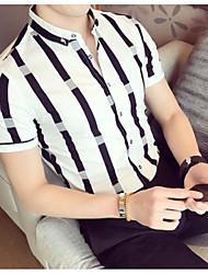 cheap -Men's Cotton Slim Polo - Striped Shirt Collar