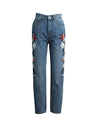 Women's Mid Rise Micro-elastic Jeans Pants,Simple Skinny Solid