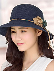 Women 's Summer Beach Travel Sun Flowers Double Leather Rope Fisherman Folded Dome  Straw Hat
