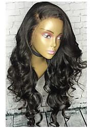 Недорогие -Натуральные волосы 360 Лобовой Парик Бразильские волосы Волнистый Свободные волны Парик Боковая часть 180% Плотность волос с детскими волосами Природные волосы С отбеленными узлами Нейтральный Черный