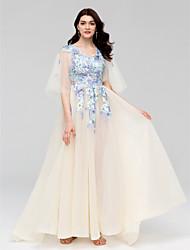Linha A Princesa Decote V Cauda Escova Tule Evento Formal Vestido com Apliques Detalhes em Cristal Faixa de Huaxirenjiao