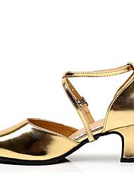 preiswerte -Damen Schuhe für den lateinamerikanischen Tanz Kunstleder Sandalen Blockabsatz Keine Maßfertigung möglich Tanzschuhe Schwarz / Silber /