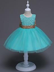 vestito dalla ragazza di fiore di lunghezza del ginocchio dell'abito di sfera - collo di gemme senza maniche di organza con il nastro di ydn
