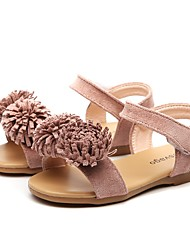 cheap -Girls' Sandals Summer Comfort Light Soles Microfibre Outdoor Party & Evening Dress Casual Flat Heel Applique Nude Blushing Pink Army Green