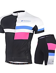 Nuckily Cycling Jersey with Shorts Bike Clothing Suits Quick Dry Ultraviolet Resistant 4D Pad Reflective Strips Back Pocket Reflective