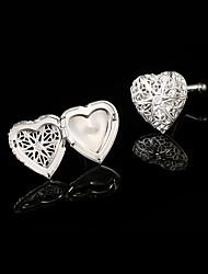 cheap -Hollow Heart Shaped Cufflinks Silvert Copper Photo Frame Design Cuff Links Buttons Wedding Gifts for Men Guests
