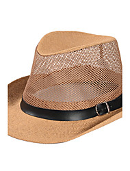 cheap -Men's Summer  Middle-aged Jazz Cap Sunscreen Linen Belt Buckle Decoration Old Man Straw Hat