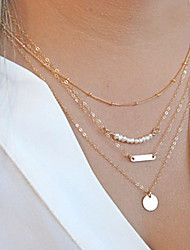 cheap -Women's Circle Personalized Fashion Multi Layer Chain Necklace Layered Necklace Pearl Necklace Pearl Alloy Chain Necklace Layered