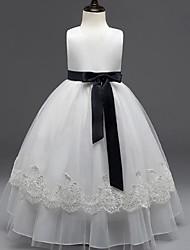 vestito dalla ragazza del fiore di lunghezza del pavimento dell'abito di sfera - collo di gemme del organza senza manicotto con il nastro da ydn