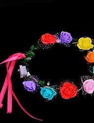 1PCS Fashion LED Light-up Flashing Headband Garland Flower Wreath Women Girls Hair Decoration Wedding Party Wedding Ramdon Color