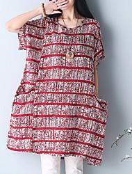 economico -T-shirt Da donna Casual Vacanze Taglie forti Vintage Semplice Stoffe orientali Estate,A strisce Rotonda Tipi di pelli specialiManica