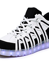 cheap -Unisex Sneakers Spring Summer Fall Light Up Shoes Luminous Shoe Leatherette Outdoor Athletic Casual Low Heel LED Lace-up Black White