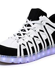 Unisex-Sneaker-Outddor Lässig Sportlich-Kunstleder-Niedriger Absatz-Light Up Schuhe Luminous Schuh-Weiß Schwarz
