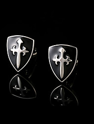 cheap -New Novelty Cufflinks Men Copper Material Black Shield Design Cuff Links French Metal Cross Buttons Man Jewelry
