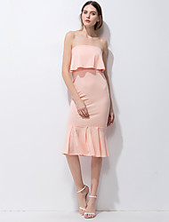 cheap -Women's Party Club Holiday Sexy Street chic Bodycon Sheath Trumpet/Mermaid Dress,Solid Strapless Knee-length Sleeveless Polyester Summer