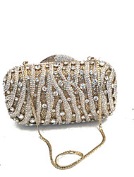 economico -Donna Sacchetti PU (Poliuretano) Metallo Pochette Crystal / Rhinestone per Matrimonio Serata/evento Formale Per tutte le stagioni Blu Oro