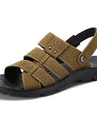 Camel Men's Fashion Shoes Wearproof Cow Leather Beach Sandals Color Khaki