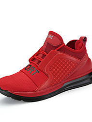 Women's Athletic Shoes Spring Summer Comfort Couple Shoes Tulle Outdoor Athletic Casual Running Flat Heel Lace-up Red Gray Black White
