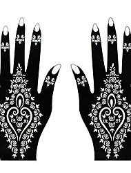 1 Pair Fashion Hollow Hand Template Beautiful Flower Decoration Nail Art Left&Right Hand Tattoo Stickers Tattoo Totem Beauty Art Design S184