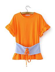 Feminino Blusa Para Noite Casual Sensual Simples Moda de Rua Verão,Sólido Estampa Colorida Algodão Decote Redondo Manga Curta Fina Média