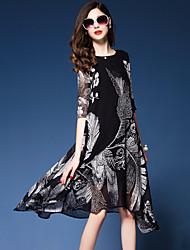Women's Going out Beach Street chic Loose Dress Print Round Neck Asymmetrical 1/2 Length Sleeve Silk Spring /Summer